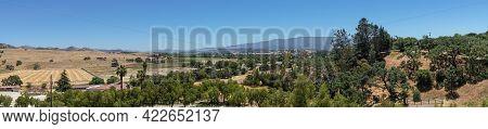 Santa Inez, Ca, Usa - April 3, 2009: San Lorenzo Seminary. Panorama Shot Over Valley West Shows Agri