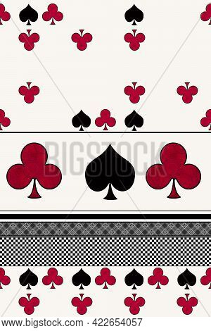 Seamless Abstract Pattern Geometric Playing Cards Shapes Symbols Background