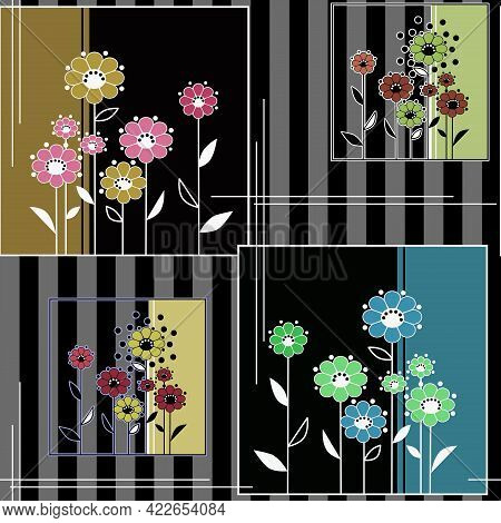 Abstract Seamless Floral Patchwork Fashion Festive Folk Folkloric