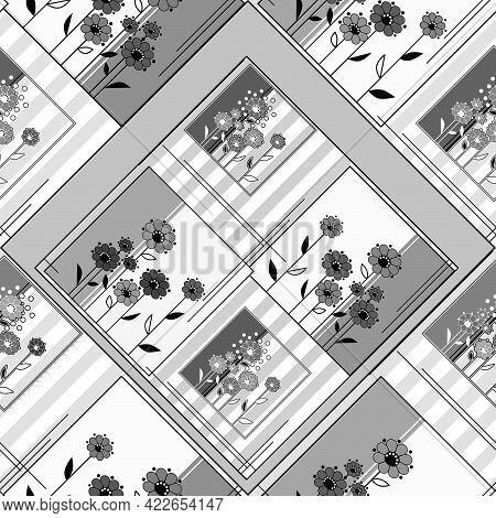 Seamless Abstract Patchwork Ornamental Kaleidoscope Floral Pattern Background