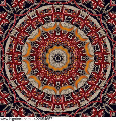 Seamless Abstract Pattern Mandala Round Mosaic Texture Geometric Background