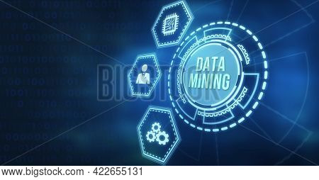 Internet, Business, Technology And Network Concept. Data Mining. 3d Illustration