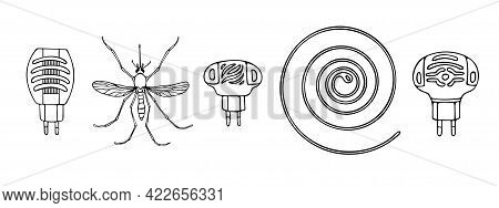 Vector Black And White Set Of Insect Protection Items, Various Fumigators, Spiral And Mosquito Isola