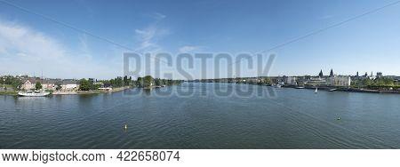 Mainz, Germany - June 1, 2013: View To Skyline Of Mainz With River Rhine.