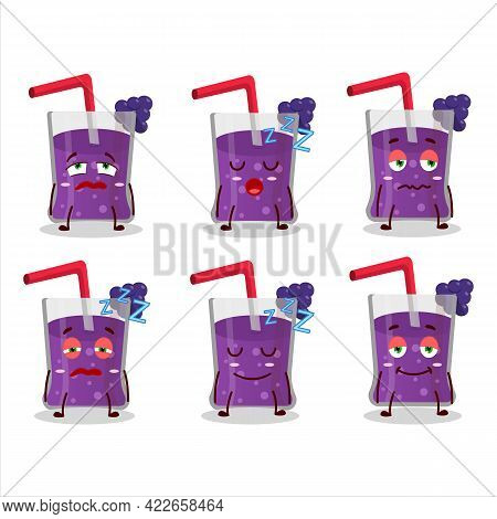 Cartoon Character Of Grapes Juice With Sleepy Expression