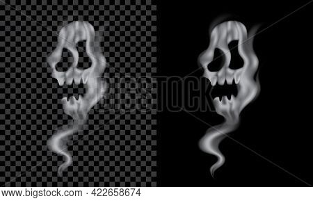 Vector Skull Shape Smoke. With Transparent Effect, Can Apply On Danger Or Poisonous Items Like Cigar