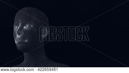 Composition of human bust formed with binary coding on black background. global finances, technology and digital interface concept digitally generated image.