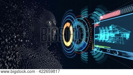 Composition of exploding human bust with binary coding over scopes scanning. global connections, technology and digital interface concept digitally generated image.