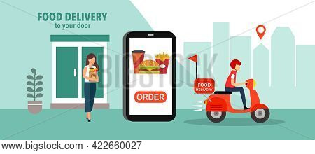 Online Food Order And Food Delivery To Your Door Service. Uber Eat, Grab Food, Fast Food Design For