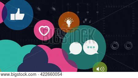 Composition of digital social media icons over computer circuit board. global connections, data processing and digital interface concept digitally generated image.
