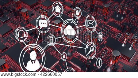 Composition of network of connections with icons over computer circuit board. global online identity, data processing, technology and digital interface concept digitally generated image.