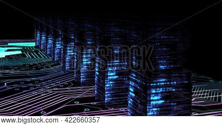 Composition of computer servers and computer circuit board. global online security, data processing, technology and digital interface concept digitally generated image.