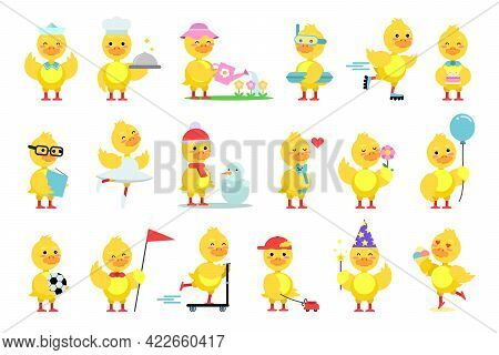 Funny Yellow Duckling Reading Book And Roller Skating Vector Set