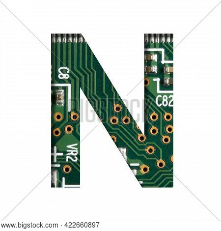 Digital Technology Font. The Letter N Cut Out Of White On The Printed Digital Circuit Board With Mic
