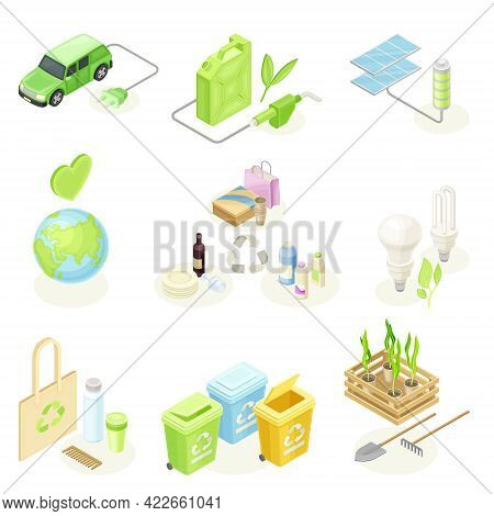 Ecology And Environment Protection And Conservation With Recycling, Electric Car And Solar Panel Iso