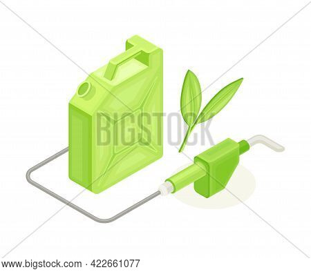 Canister With Clean Eco Fuel As Ecology And Environment Protection And Conservation Isometric Vector