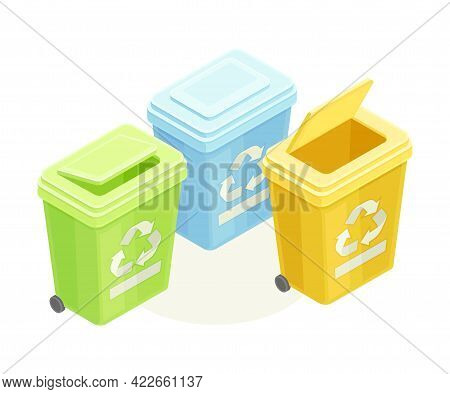 Dustbin For Garbage Sorting And Recycling As Ecology And Environment Protection And Conservation Iso