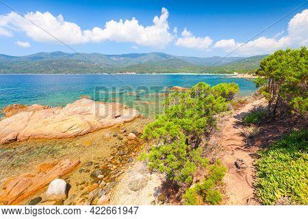 South Corsica, Summer Landscape With Coastal Rocks On A Sunny Day. Cupabia Beach