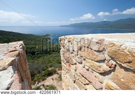Cupabia Bay View Taken From Campanella Tower Viewpoint. Corsica Island, France. This Coastal Defense