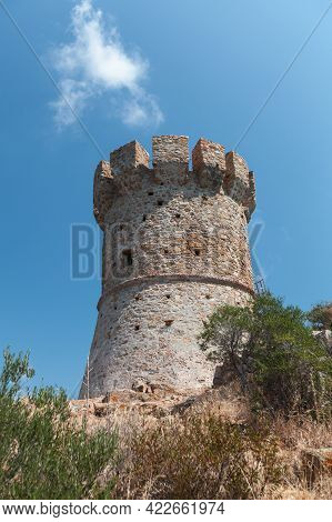 Vertical Photo Of The Campanella Tower One Of The Genoese Towers In Corsica, A Series Of Coastal For
