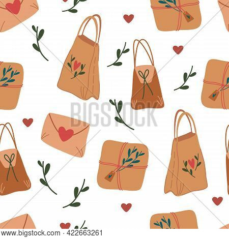 Seamless Pattern With Craft Shopping Bags. Package Delivery Box And Eco Friendly Gift Packaging. Nat