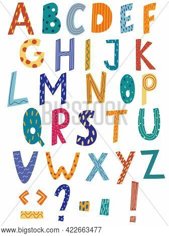 Latin Alphabet In Cartoon Style. Hand Draw Alphabet With Stripe And Polka Dot Style. Cute Colorful E
