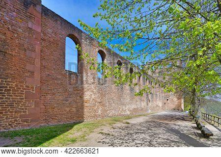Bad Dürkheim, Germany - April 2021: Outer Wall Surrounding Old Ruin Of Limburg Abbey In Palatinate F