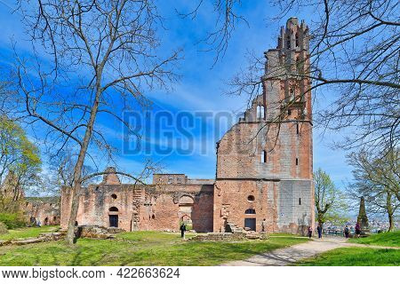 Bad Dürkheim, Germany - April 2021: Front View Of Ruin Of Limburg Abbey In Palatinate Fores