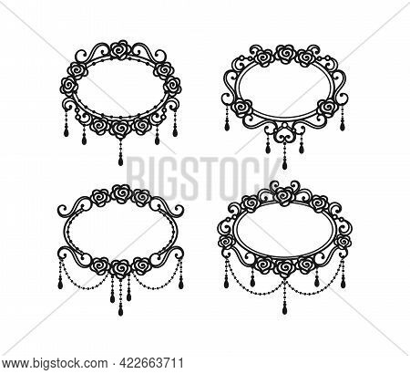 Black And White Vintage Frames With Roses And Beads Isolated On A White Background. Set Of Design El