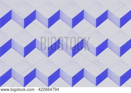 3D gray and indigo paper craft cubic patterned background