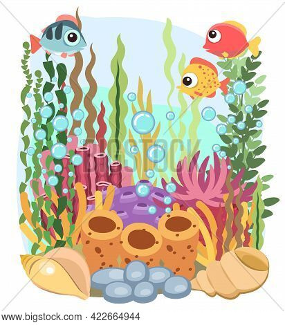 Coral Reef. Bottom Of Reservoir. Sea Ocean. Underwater. Landscape With Fish, Plants, Algae And Coral