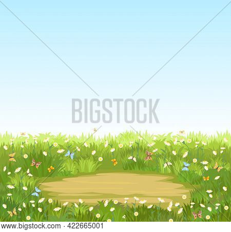 Glade. Place In A Meadow With Wildflowers. Grass Close-up. Beautiful Green Rural Landscape. Isolated