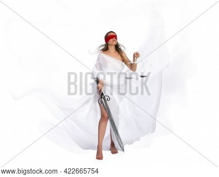 The Ancient Goddess Of Justice Themis In Fluttering White Robes, Blindfolded, Sword In One Hand And
