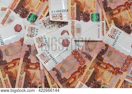 Background Of Russian Cash Banknotes Of Five Thousand Rubles. Top Views