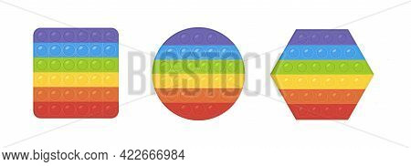 Vector Set Of Popular Pop It Fidgets. Rainbow Colored Antistress Toys. Hand Toy With Push Bubbles Fo