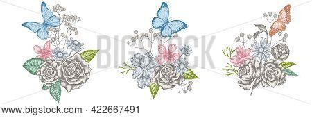 Flower Bouquet Of Pastel Iris Japonica, Gypsophila, Chamomile, Almond, Menelaus Blue Morpho, Blue Mo