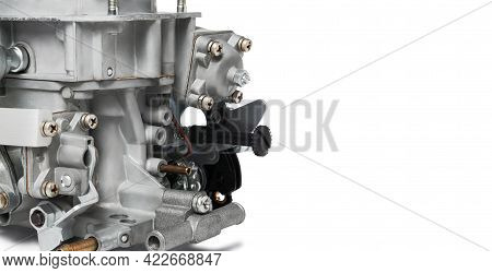 Close Up Of Details Of Car Carburetor Against White Background, Small Depth Of Focus, Copy Space On