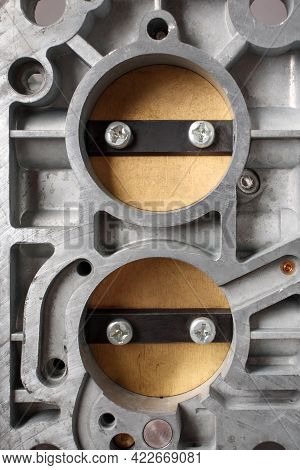 Close Up Of Bottom View Of Chambers With Choke Of Car Carburetor, Small Depth Of Focus. Automotive P