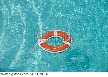 Life Buoy In The Sea Or Swimming Pool.