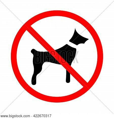 Dog In Red Prohibition Line Icon. Forbidding. No Dog Or Pets. No Animal Sign. Not Walk The Dogs. Iso