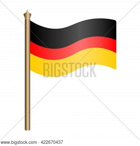 German Flag. Tricolor Fabric Cloth. The National Symbol Of The State Develops In The Wind. Colored V