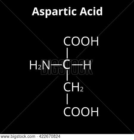 Aspartic Acid Is An Amino Acid. Chemical Molecular Formula Aspartic Acid Is An Amino Acid. Illustrat