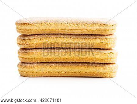 Italian cookie savoiardi. Sweet biscuits. Sponge cookies tiramisu isolated on white background.