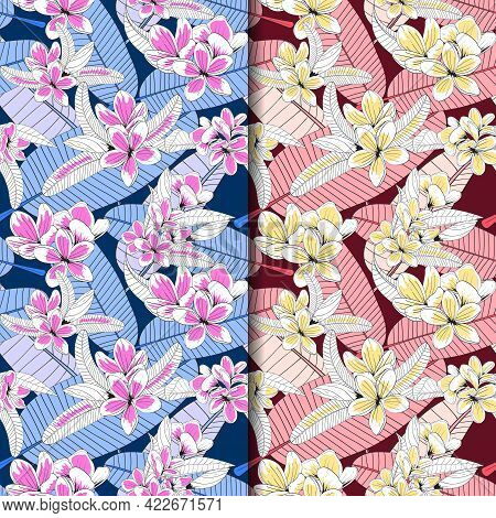 Floral Pattern With Plumeria Flowers. Seamless Pattern. For Textile, Packaging, Paper, Print. Vector