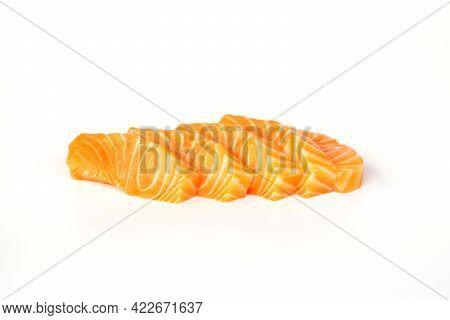 Salmon Fillet Fresh Sliced On White Background