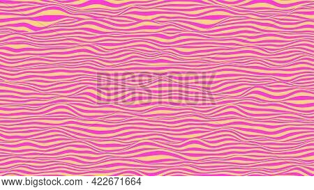 Abstract Vector Background In Pink And Yellow Colors. Waves On A Striped Surface.