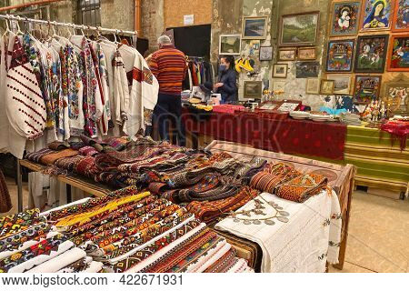 Lviv, Ukraine - May 31, 2021 : Garage Sale In Town Hall, Tlum And Kram. Ukrainian Clothes - Traditio