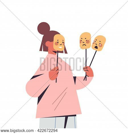 Woman Holding Masks With Different Emotions Fake Feeling Mental Disorder Changing Natural Personalit