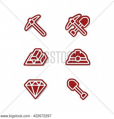 Miner Mining Outline Sticker Icon Set With Gold, Pick Axe, Shovel, Helmet, Diamond