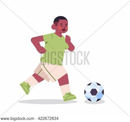 Little African American Boy Playing Football Healthy Lifestyle Childhood Concept Full Length